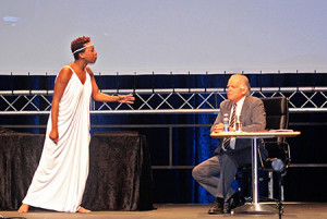 Chi Mhende as Hypatia and David Muller as a journalist in The Hypatiad. Photo: Natalia Molebatsi