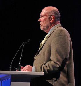 IFLA opening session keynote speaker, nuclear physicist Rob Adam. Photo: George M. Eberhart