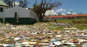 Stray books blanket Vanuatu in the aftermath of Cyclone Pam, which hit the island March 12–14. Photo: Shutterstock.com