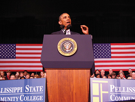 """President Barack Obama unveiled his proposal for America's College Promise at Pellissippi State Community College in Knoxville, Tennessee, in January. <span class=""""credit"""">Photo: Jessie Tipton/Pellissippi State Community College</span>"""