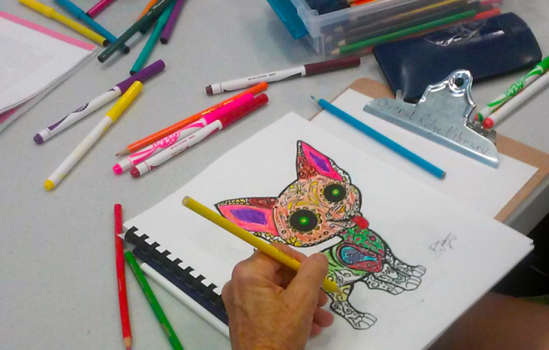 Many libraries purchase coloring books or print free pages online for their clubs. Other supplies—such as crayons, markers, and coloring pencils—are also provided.