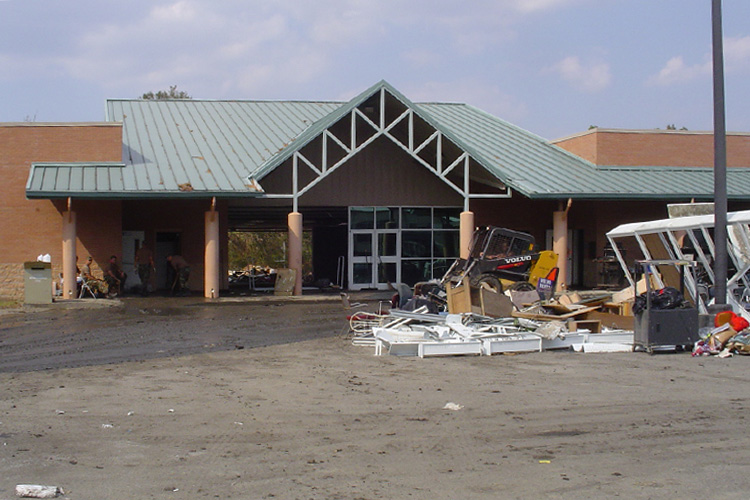 Hancock County Library System's destroyed Pearlington branch after Hurricane Katrina. Photo: Hancock County Library System