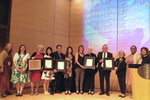 The presentation of ALA Presidential Citations for Innovative International Library Projects at the International Relations Round Table (IRRT) International Librarians' Reception on June 29, 2015, in San Francisco. Photo: IRRT
