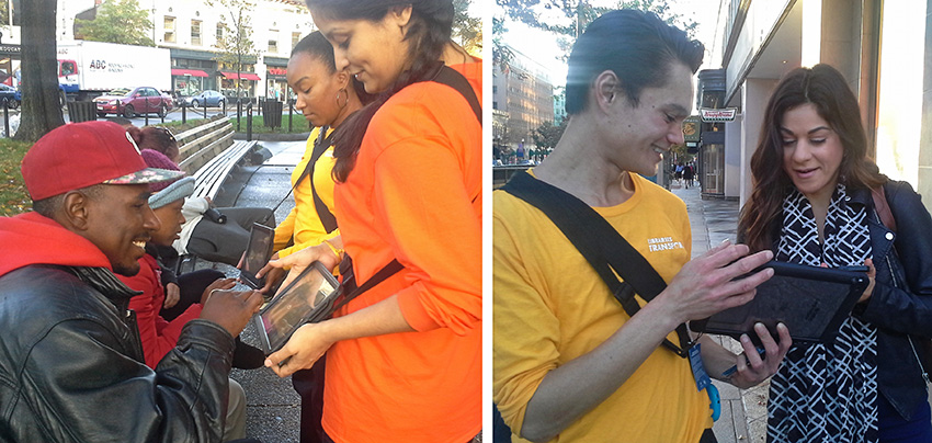 Street members (from left) Charisma Dimuel, Tanuja Mehrotra, and Cliford Ortman quiz people around Dupont Circle.