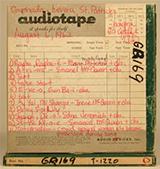 Original audiotape box from Alan Lomax's 1962 Caribbean field trip (St. Patrick's, Grenada). Courtesy of the Alan Lomax Archive