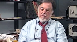 Screenshot of Alan Lomax being interviewed by Charles Kuralt, 1991. Video from the Alan Lomax Archive YouTube channel