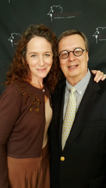 Constance Macy (left), an actor with the Indiana Repertory Theater, and Rick Provine. As part of Kurt Vonnegut Memorial Library's Banned Books Week festivities, Macy read a poem by Lawrence Ferlinghetti, owner of Ciy Lights Bookstore in San Francisco, who was arrested for publication of Alan Ginsberg's Howl.