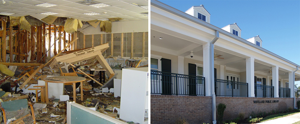 Damage sustained to the Hancock County (Miss.) Library System's Waveland branch (left) from Hurricane Katrina in 2005, and the new Waveland Public Library (right) that reopened in 2011. Photos: Hancock County Library System