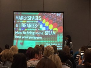 """Makerspaces and Libraries: How to Bring Some STEAM into Your Program,"" presented by Diana Rendina, media specialist/teacher librarian at Stewart Middle Magnet School in Tampa, Florida."