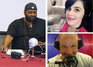Librarian podcasters Maurice Coleman of <em>T Is for Training, </em> Rita Meade of <em>Dear Book Nerd,</em> and Daniel Messer of <em>Cyberpunk Librarian.</em>