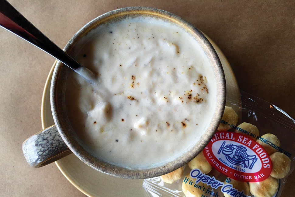 New England clam chowder at Legal Harborside