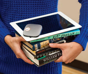 Mobile Beacon provides mobile Wi-Fi devices (as show on the tablet above) and grants to libraries for Wi-Fi lending programs.