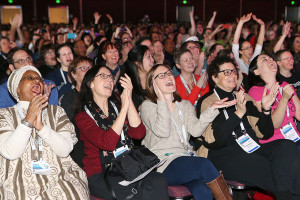 ALA Midwinter attendees react as the Youth Media Award winners are announced.