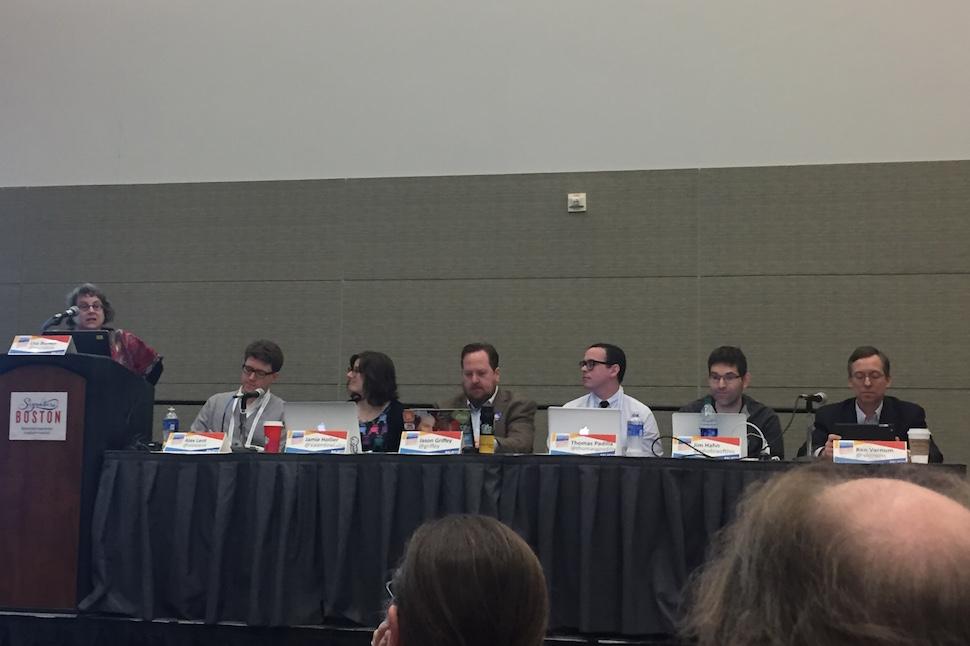 Moderator Lisa Bunker introduces LITA Top Tech Trends panelists (from left) Alex Lent, Jamie Hollier, Jason Griffey, Thomas Padilla, Jim Hahn, and Kent Varnum