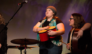 Students incorporate some of the instruments into a performance for Wartburg's Homecoming show, Kastle Kapers, in 2014.