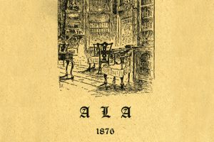 Card from the first American Library Association conference in Philadelphia, October 4-6, 1876, possibly showing the library of the Historical Society of Pennsylvania.