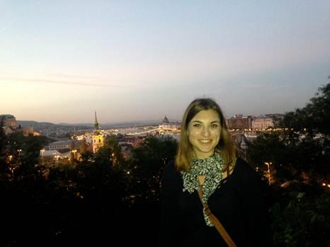 Margaret Kavaras on Gellért Hill overlooking central Budapest