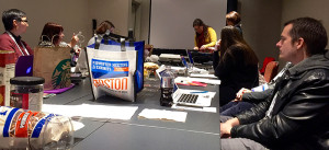 Enthusiasm and snacks abound at the Amazing Audiobooks for Young Adults Committee meeting.