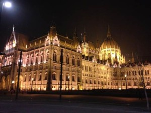The Hungarian Parliament on a cold January evening.