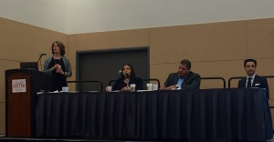 Tiziana Dearing speaking alongside Chrismaldi Vasquez, Vetto Casado, and Miguel Figueroa.