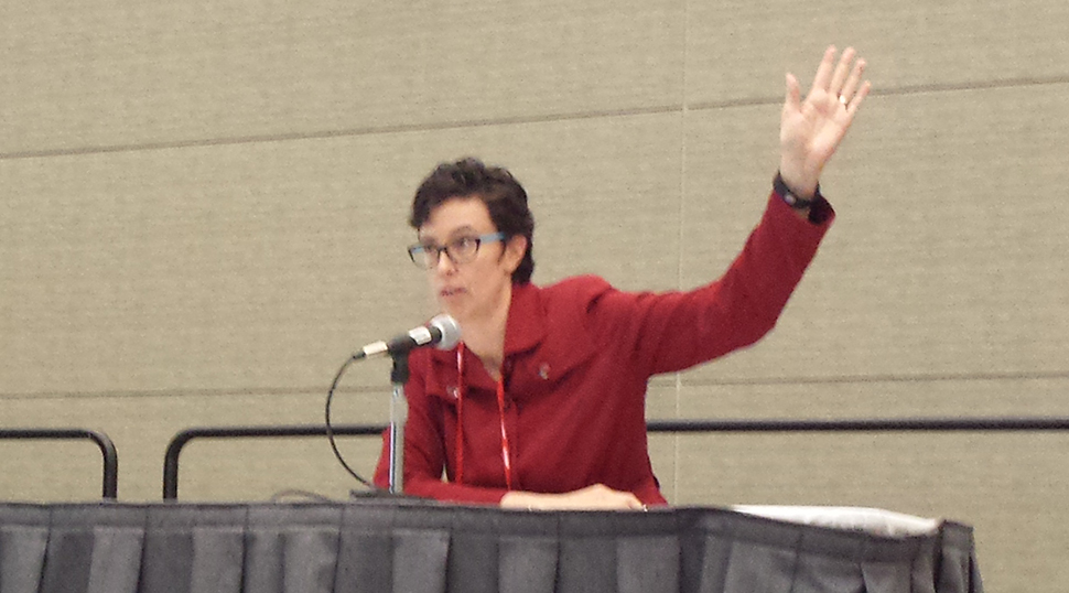 OITP Deputy Director Larra Clark asks how many people in the audience are logged into the conference center's Wi-Fi
