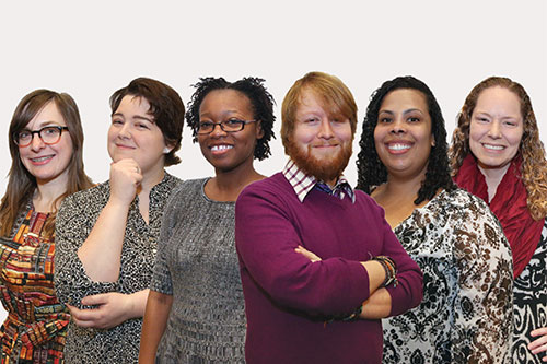 "Team K:Sponsor: Young Adult Library Services Association  Project: Social Media  Marketing CalendarFrom left: Kayla Marie Figard, Samantha Helmick, Dontana McPherson-Joseph, Derrick Burton, Tiffany Davis, Hattie Garrow""Libraries will continue to provide access to information and ideas, but what I'm most excited about is the shift from consumption to creation–the notion that libraries can serve as environments for people of all ages to collaborate, create, explore, imagine, learn, and grow. Library professionals need to be seen as facilitators of this model, not gatekeepers to the books."" —Hattie Garrow"