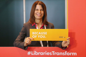 ALA President Sari Feldman stopped by the photo booth in the ALA Lounge at Midwinter to show her support of the Libraries Transform campaign. Photo: Cognotes
