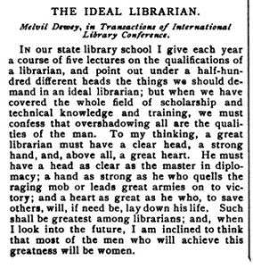 The Ideal Librarian, 1899