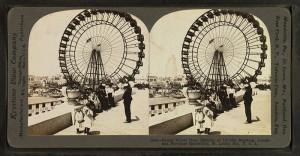 Stereoscopic card showing the Ferris Wheel at the 1904 World's Fair, St. Louis.