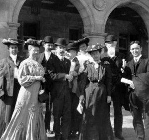 1904 Annual Conference attendees (in unknown order): Mary Letitia Jones (Los Angeles Public Library), Charles Wesley Smith (Seattle Public Library), Walter M. Smith (University of Wisconsin, Madison), Frank Barna Bigelow (New York Society Library), Frank Pierce Hill (Brooklyn Public Library), Isabel Ely Lord (Pratt Institute Free Library), Helen Elizabeth Haines (managing editor, Library Journal), Aksel Andersson (Uppsala University, Sweden). Credit: ALA Archives.