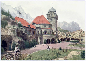The Tyrolean Alps concession consisted of 21 buildings and gigantic, three-dimensional, painted mountains made of reinforced plaster of Paris. Tony Faust of St. Louis and August Luchow of New York ran a 2,500-seat restaurant that ALA attendees adopted as their after-hours headquarters.