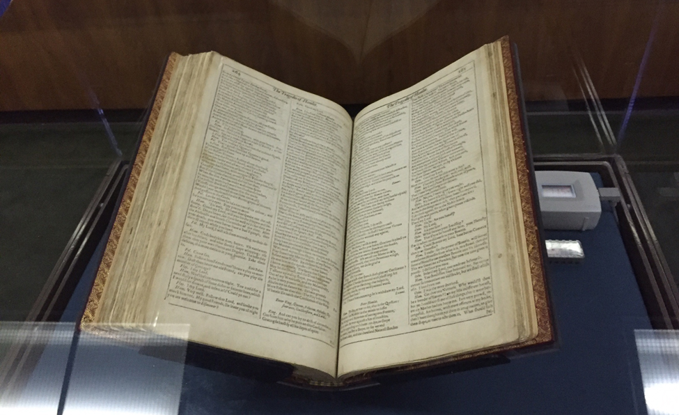 A copy of Shakespeare's First Folio at the University of Notre Dame's Hesburgh Library in South Bend, Indiana