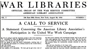 First page of War Libraries: Official Organ of the War Service Committee, American Library Association, 1918.