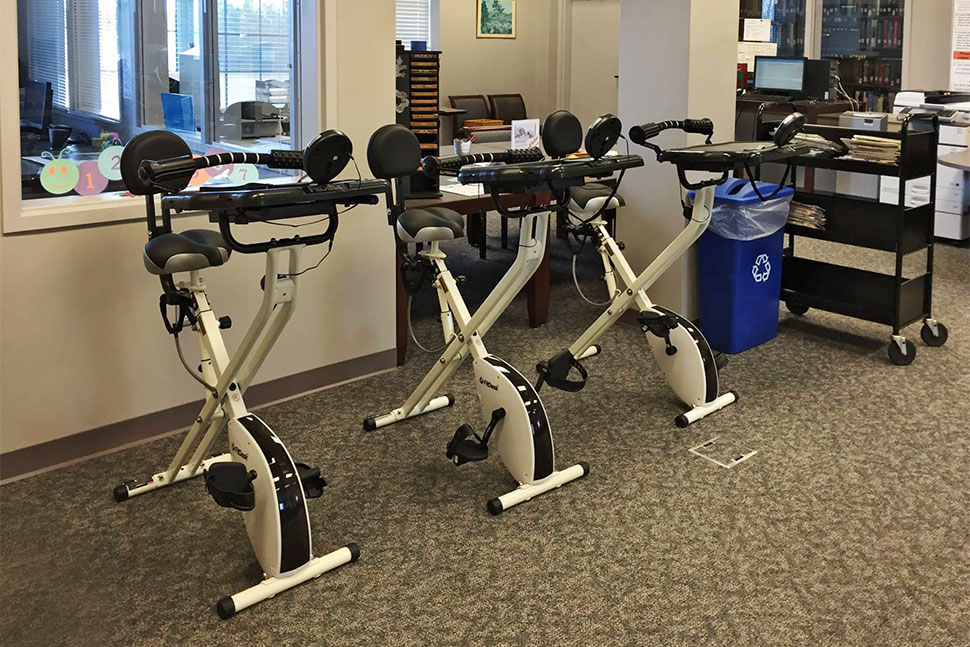 Stationary bikes at Troy University Library