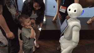 IBM's Pepper robot interacts with the crowd.