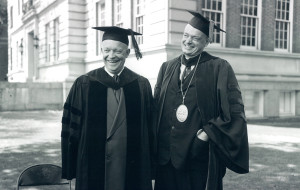 US President Dwight D. Eisenhower and Dartmouth President John Sloan Dickey at the Dartmouth College commencement, June 14, 1953. Courtesy of Dartmouth College Library