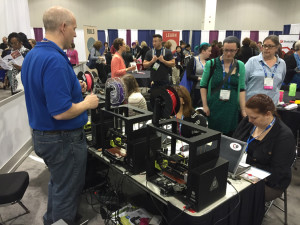 Attendees learn CAD modeling in the COLab at the 2016 Public Library Association Conference in Denver.