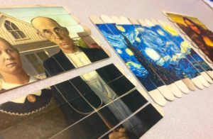 Art puzzles created with Popsicle sticks can help some older adults recall patterns. Photo: Westerville (Ohio) Public Library