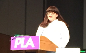 Author, podcast host, and motivational speaker Kari Chapin inspires the crowd at the Public Library Association Conference in Denver, April 6, 2016.