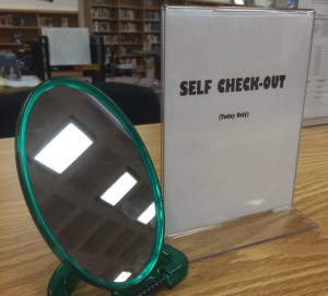 Self check-out at Stonewall Jackson High School in Manassas, Virginia.