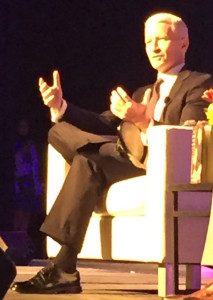 CNN anchor Anderson Cooper discusses his mother, Gloria Vanderbilt, at the Public Library Association Conference in Denver, April 6, 2016.