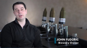 John Fuduric, owner of The Cleveland Brewery, who used library resources to print unique beer taps for his business.