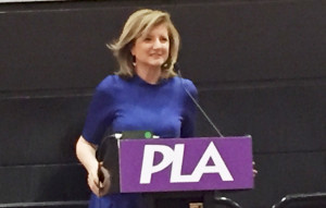 Arianna Huffington addresses the crowd at the Adult Author Lunch during the Public Library Association 2016 conference in Denver.