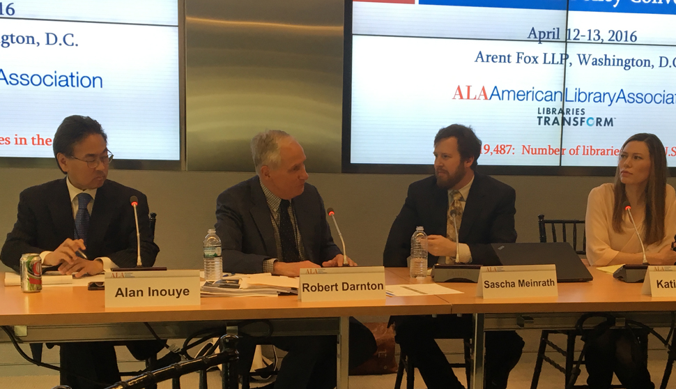 "At the ALA National Policy Convening, Alan S. Inouye (left) moderates a panel on ""Future Directions for the Library of Congress,"" featuring Robert Darnton, Carl H. Pforzheimer University Professor and university librarian emeritus of Harvard University; Sascha Meinrath, Palmer Chair in Telecommunications at Penn State University; and Katie Oyama, senior policy counsel of Google."