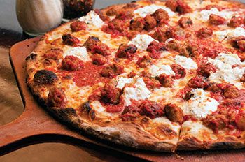 Meatball and ricotta pizza at Anthony's Coal Fired Pizza