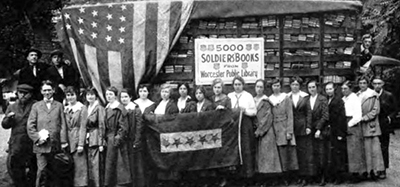 The first 5,000 books shipped by motor truck from the Worcester (Mass.) Public Library to Cambridge, where they are prepared for overseas shipping in 1918