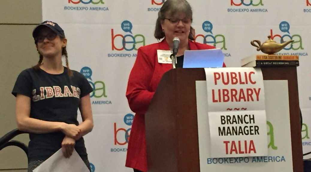 Talia Sherer, director of library marketing at Macmillan (left), and Wendy Bartlett of Cuyahoga County (Ohio) Public Library present at BEA.