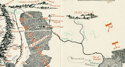 map of Middle-earth, annotated by J. R. R. Tolkien