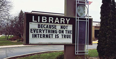 "Caro (Mich.) Area District Library recently used a Libraries Transform ""Because"" statement on a roadside sign. The image was posted on social media and has had a reach of more than 2 million people"