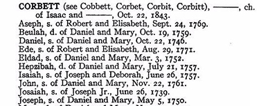 "Page from the NEHGS Database ""Massachusetts Vital Records to 1850"" showing Mendon births and a possible error"